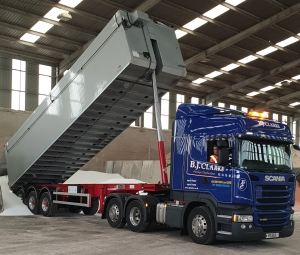 One of brand new shiny bulk tipper's on the road